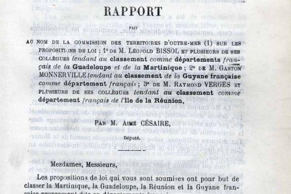 Rapport d'Aimé Césaire à l'Assemblée nationale sur la départementalisation
