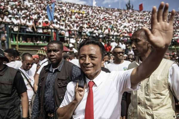 Marc Ravalomanana lors d'un meeting de campagne le 15 décembre au stade de Mahamasina à Antananarivo