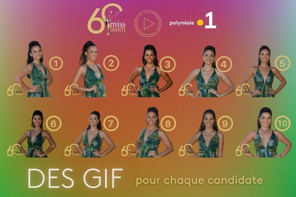 Des GIF pour les 10 candidates à Miss Tahiti