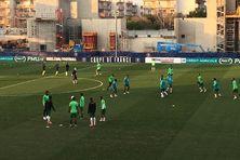 Échauffement du club franciscain avant la rencontre avec le SCO Angers.