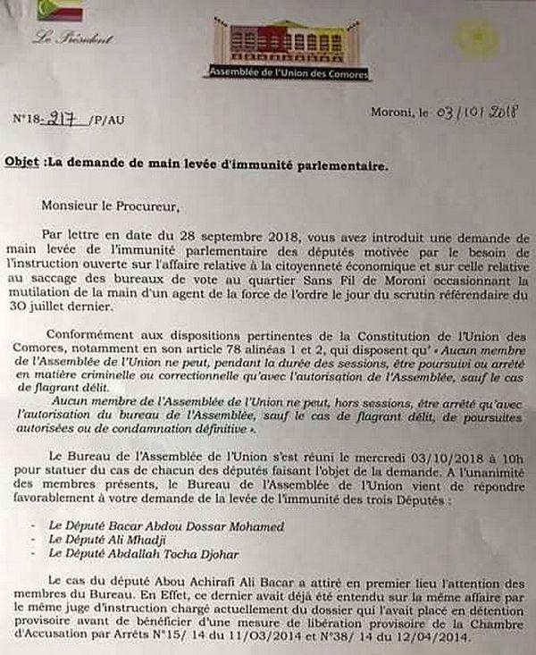 Lettre officialisant la levée de l'immunité des trois députés
