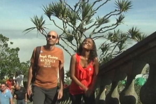 Fabrice Lucas et Mélissa Ridchardson lors de l'ascencion du Corcovado. Le pic de granite mesure 710 mètres...