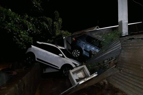 Conséquences des inondations à Acoua au nord de Mayotte