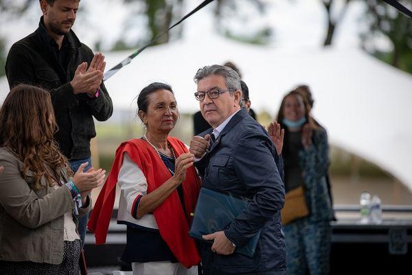 Huguette Bello et Jean-Luc Mélenchon dans la Drôme, le 28 août 2021.