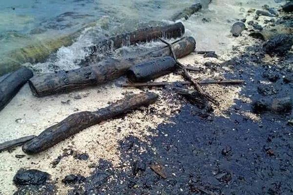 Marée noire sur l'île Rennel, Salomon, 1er mars 2019