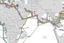 Le réseau des câbles sous-marin consacrés au trafic internet dans l'océan Indien (Source submarinecablemap.com)