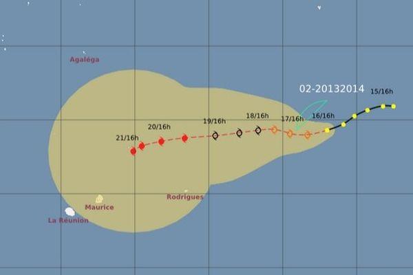 La dépression tropicale à 1900 km à l'Est de La Réunion