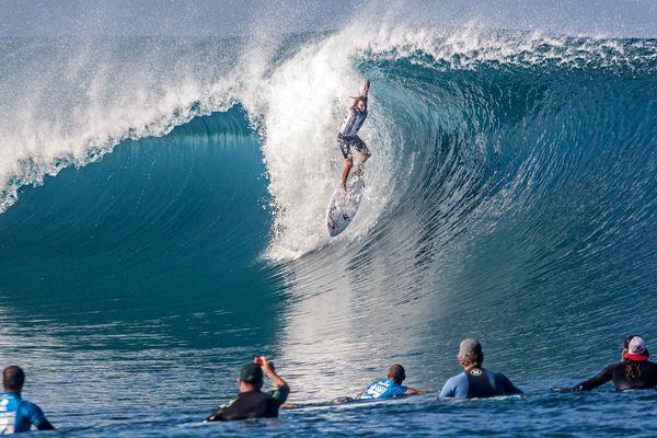 L'un des concurrents de Michel Bourez, l'Australien Matt Wilkinson, deuxième de la série. 18/08/14 Billabong Pro