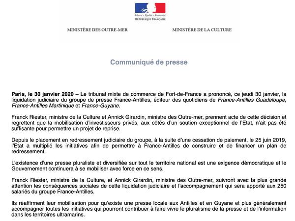 Communiqué de presse Ministère des Outre-Mer