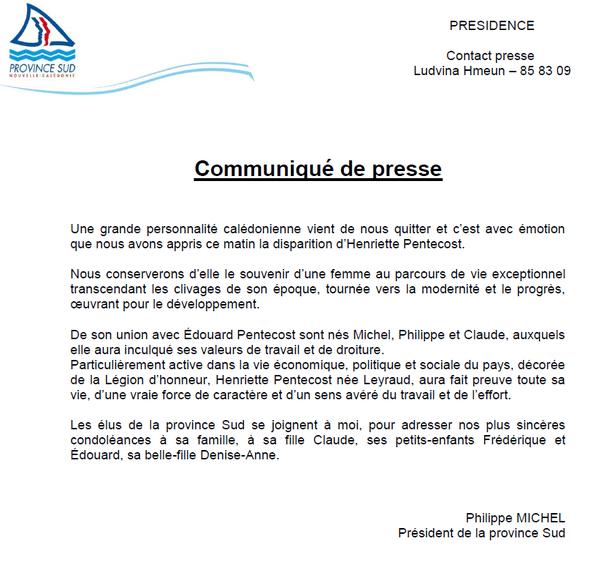 Communiqué Philippe Michel