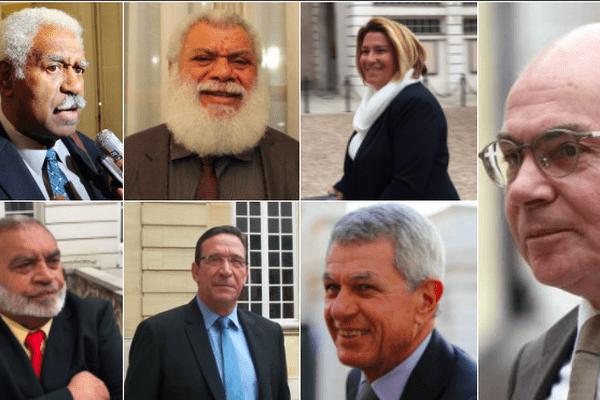 Sept participants du XVIe comité des signataires à Matignon.