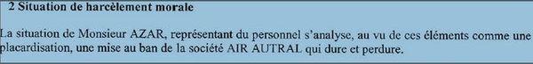 Air austral inspection du travail dossier Azar