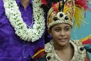 Vinitua Tiaahu avec son instituteur