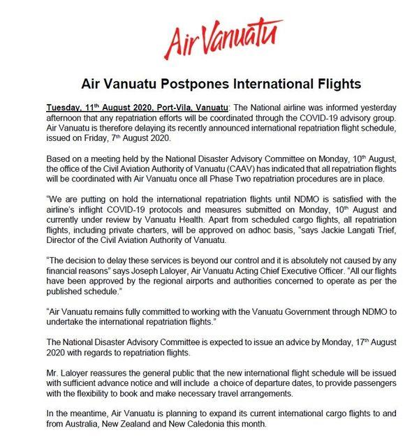 Communiqué Air Vanuatu