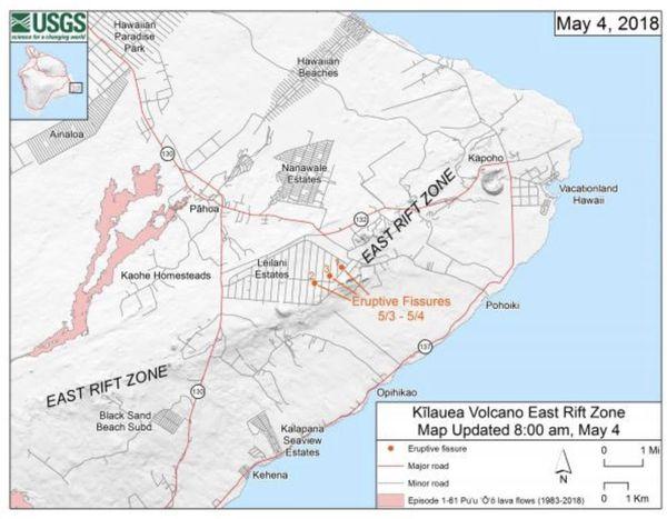 Hawai : carte de la zone de faille- volcan Kilauea