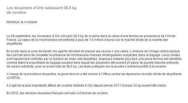 communiqué saisie cocaine douanes orly