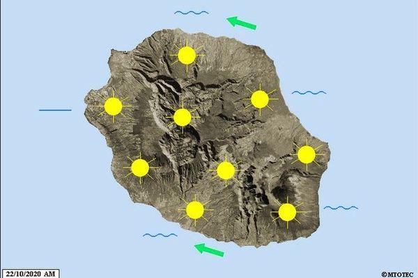 carte prévisions météo La Réunion 221020