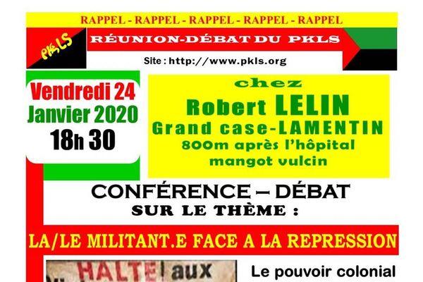 """Flyer PKLS réunion débat """"le militant face à la répression"""
