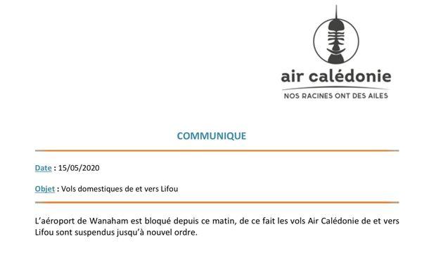 Aircal suspension vols Lifou