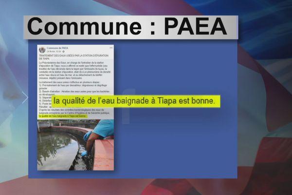 Post Facebook de la commune de Paea