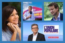Anne Hidalgo (Parti Socialiste), Fabien Roussel (Parti Communiste Français), Yannick Jadot (Europe Écologie Les Verts) et (en bas) Jean-Luc Mélenchon (La France Insoumise).