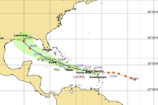 Trajectoire tempête tropicale Laura