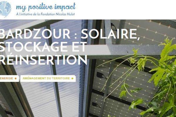 """Capture d'écran du projet Bardzour sur """"My positive Impact"""""""