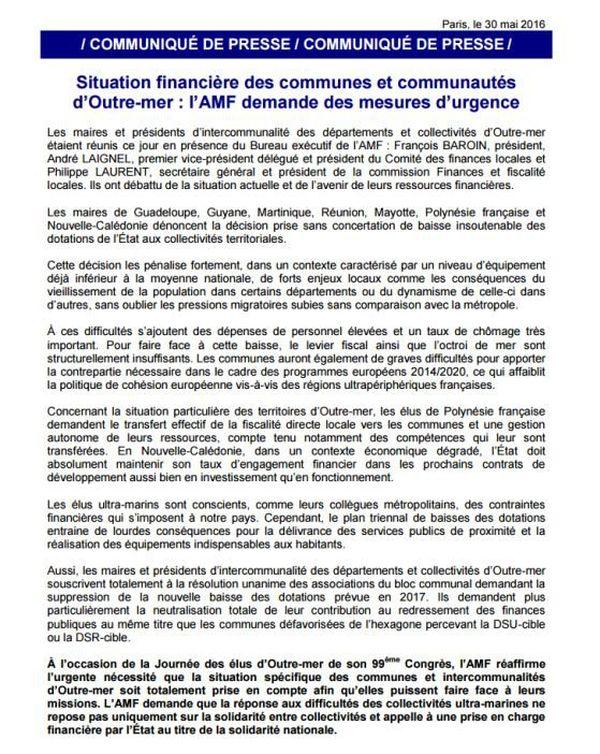 Association des maires de France sur la situation des Outre-mer