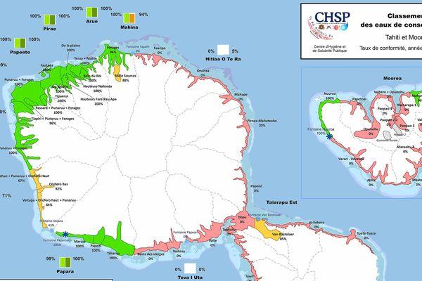 Bonne qualité de l'eau en zone urbaine, copie à revoir pour Hitiaa O Tera, Paea, et Taiarapu Est et Ouest