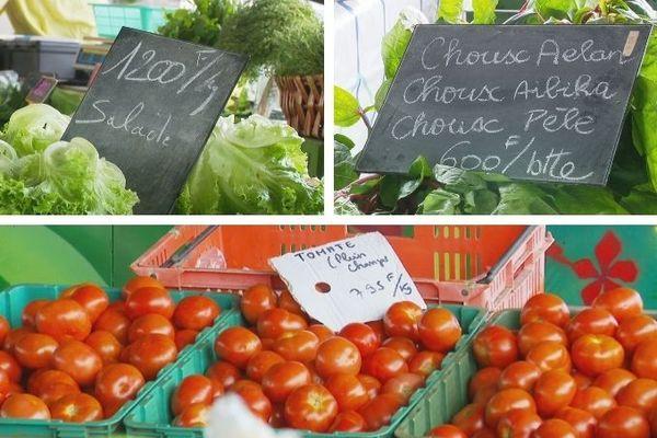 Prix des légumes, janvier 2021, marché de Ducos