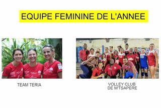 Nominée équipe féminine 2018 : Team Teria & Volley Club de M'Tsapéré
