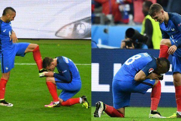 Euro 2016: Dimitri Payet et Antoine Griezmann rejouent la scène du bisou