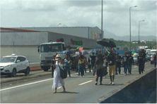 Des activistes Rouge-Vert-Noir se dirigent vers l'aéroport avec leurs drapeaux (jeudi 9 septembre 2021).