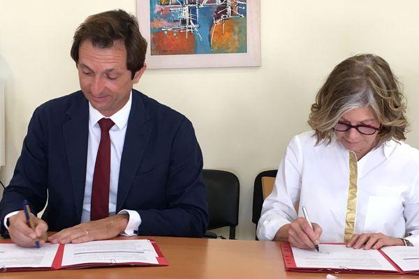 Convention Bertrand Camus CDE et Sonia Lagarde maire de Nouméa (11 janvier 2018)