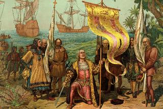 Christophe Colomb. Au large, la Santa Maria, la Niña et la Pinta