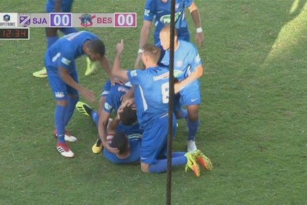 Football 7eme tour Coupe de France joie but Besançon 102ème minute 181118