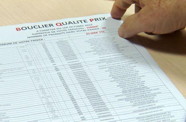 Bouclier qualité-prix, liste de produits dans une enseigne de la place.