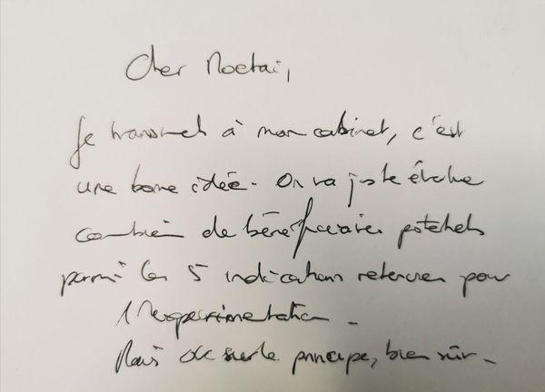 Réponse manuscrite du ministre de la santé, Olivier Véran