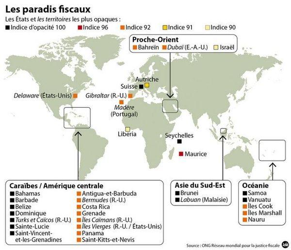 Carte des paradis fiscaux présumés