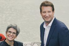 Sandrine Rousseau et Yannick Jadot d'Europe-Écologie-Les-Vert, le mouvement français de l'écologie politique.