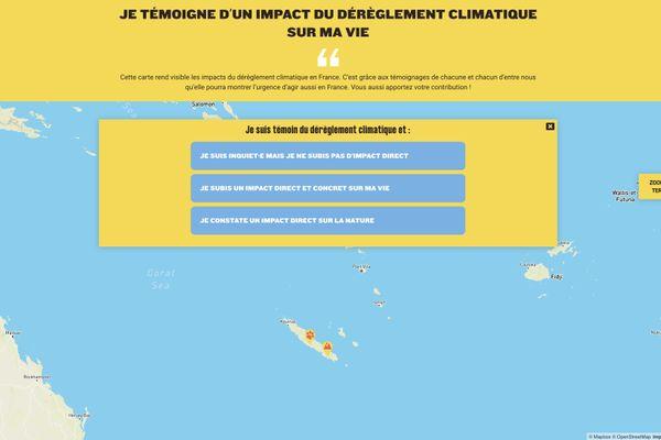 Réchauffement climatique carte interactive