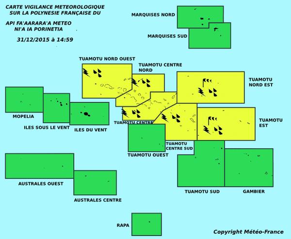 Carte météorologique de la Polynésie Française - 31 12 2015 PM