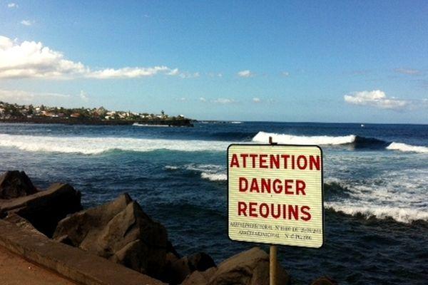 """Saint-Pierre : panneau """"Danger Requins"""""""