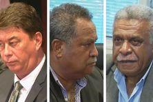 Thierry Santa, Samuel Hnepeune et Louis Mapou, candidats à la présidence du gouvernement calédonien