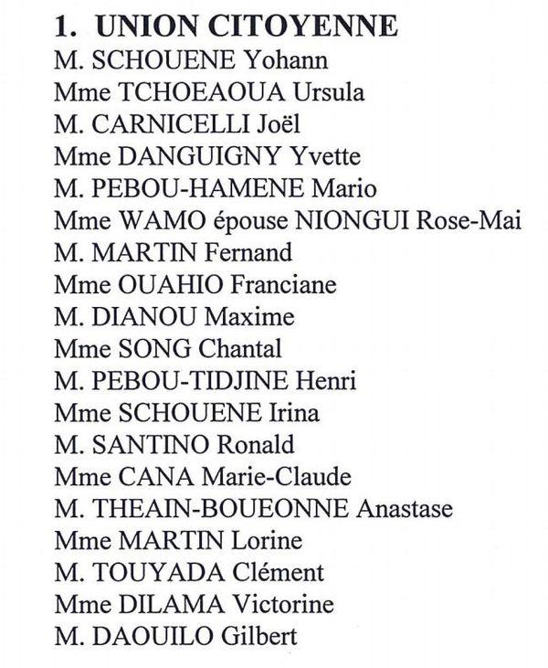 La liste Entente communale, élection 2017 à Ouégoa