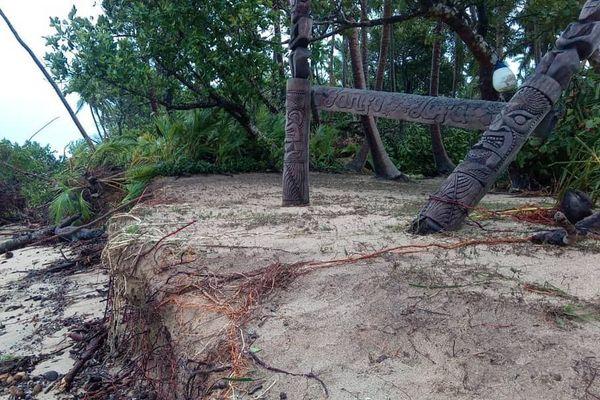 Effet de Tino à Uoleva, dans les îles Ha'apai de Tonga, janvier 2020