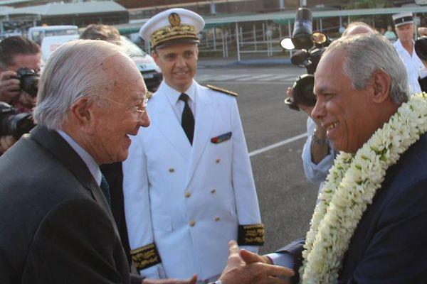 Gaston Flosse et Victorin Lurel à Tahiti