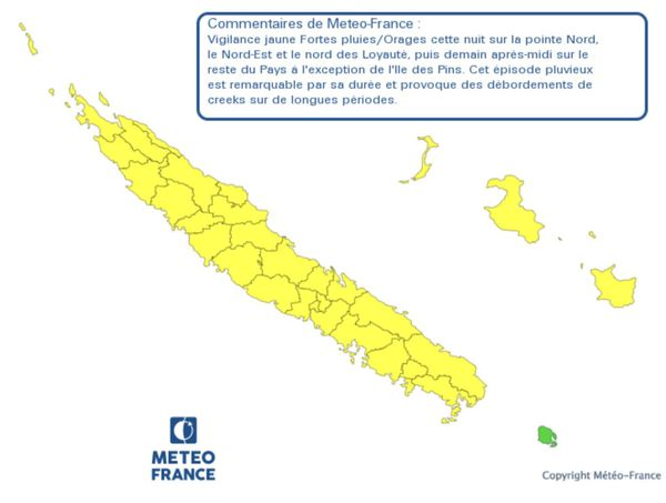 Carte vigilance fortes pluies 12 janvier 2021