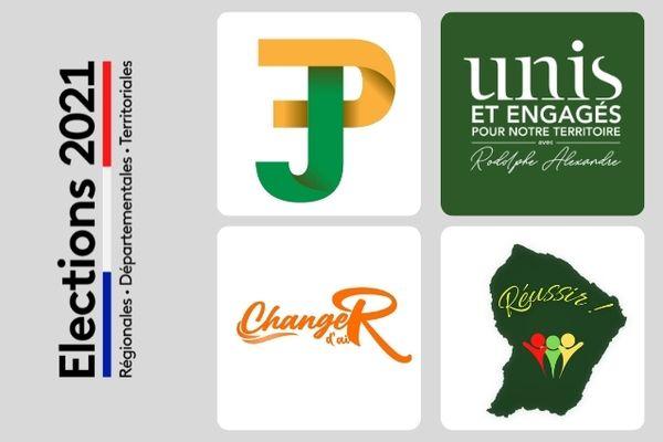 Les logos des 4 listes engagées pour les territoriales 2021