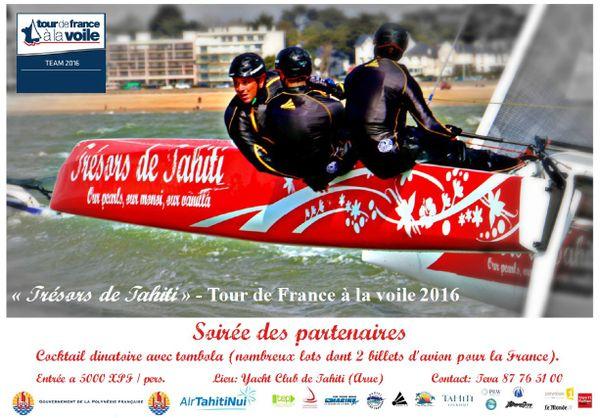 """Soirée de départ """"Trésors de Tahiti au Tour de France à la voile"""" samedi 18 juin 2016 à partir de 18h."""